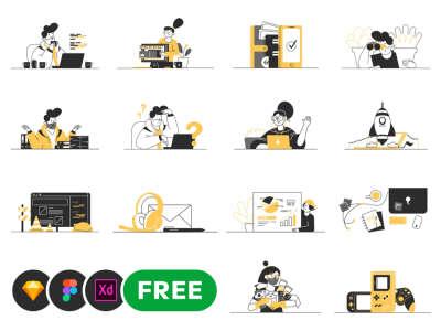 20 Office Vector Illustrations