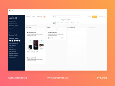 Asana Web Dashboard - made in Figma