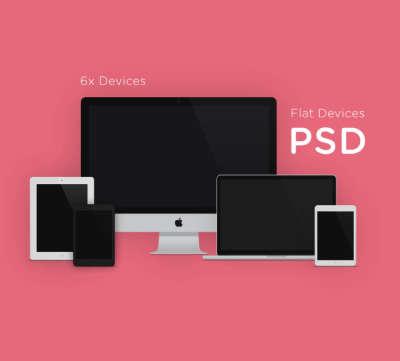6 Apple Flat Devices Mockup