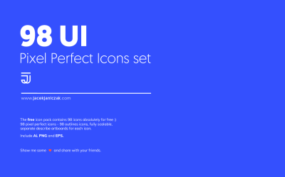 98 UI Pixel Perfect Icons Set