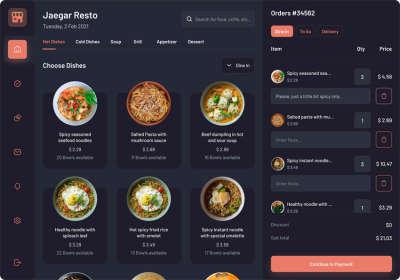 Food Orders Dashboard UI
