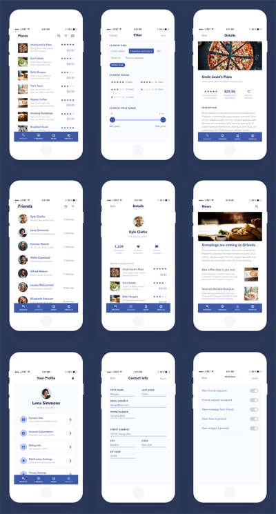 UI Elements for Mobile App