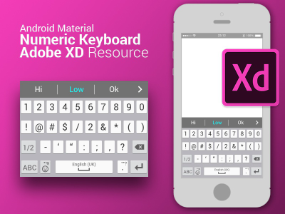 Android Material numeric keyboard for XD
