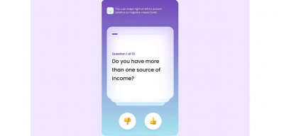 Animated swipe XD questionnaire