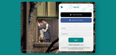 Dating signup / login form for XD