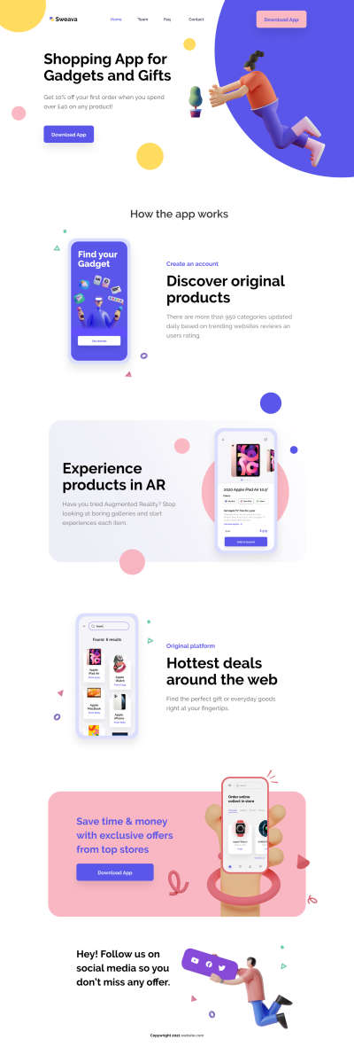 eCommerce Free Landing Page for Figma