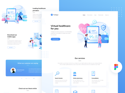 [FIGMA FREEBIE] Landing page for a healthcare startup