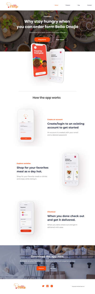 Food App Free Landing Page for Figma