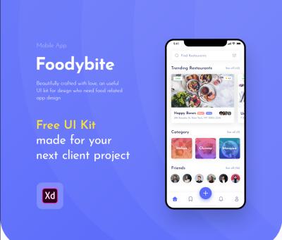 Foodybite – Free Adobe XD UI kit