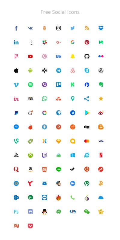 100 Free Social Icons v15