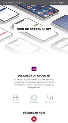 Free Sign up templates XD UI kit