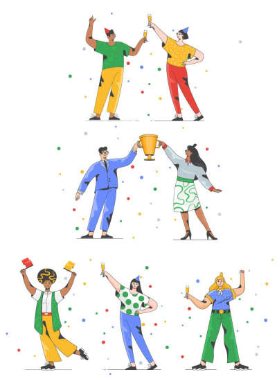 Illustrations of Happy People