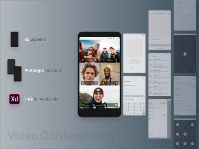 Free videoconferencing XD wireframe kit