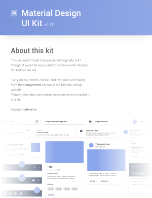 Free XD Material Design UI kit