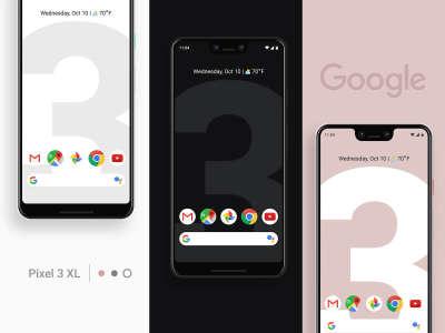 Google Pixel 3XL 3 Colors Mockup