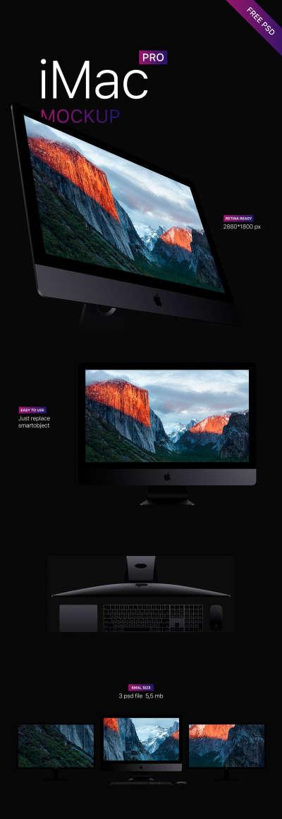 3 iMac Pro Free Mockups