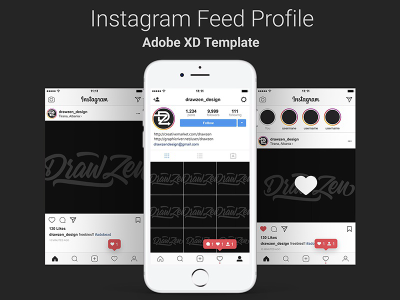 Instagram UI mobile screens for XD
