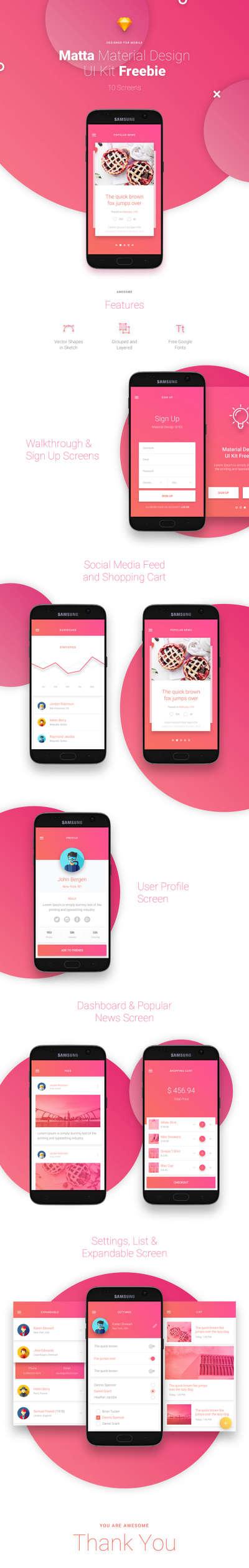 Matta Free App Design UI Kit