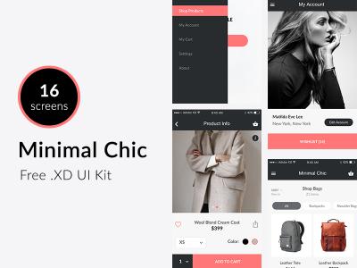 Minimal Chic – Free XD UI kit – Mobile