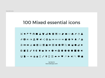 100 Free Mixed Essential Icons for XD