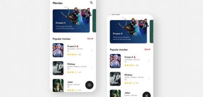 Movie app sliding menu & animation