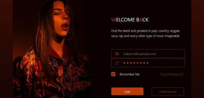 Music website login template