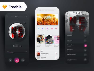Neumorphism Music App Freebie