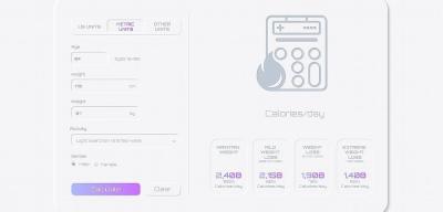 Neumorphic XD calories calculator