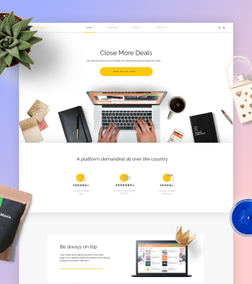 Online store XD landing page