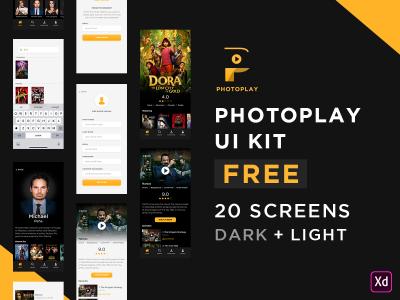 PhotoPlay – Movie XD Free ui kit