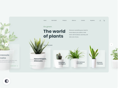 Plants website XD animation