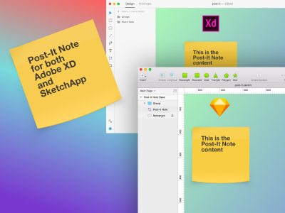 Post-it note made in Adobe XD