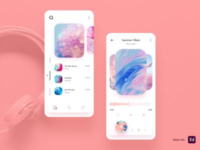 Q Music mobile app design template