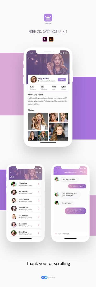 Queen Social Media UI Kit