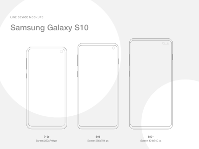 Samsung Galaxy S10, S10+ and S10e Line Mockup