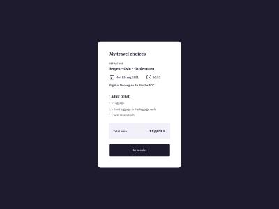 Travel Details Card UI Design