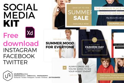 Social media kit for Adobe XD – 2018