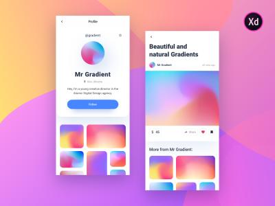 Social network gradient mobile template