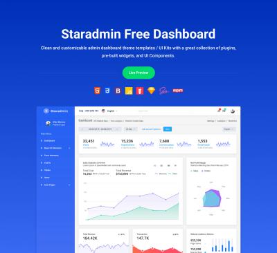 StarAdmin Free admin XD template