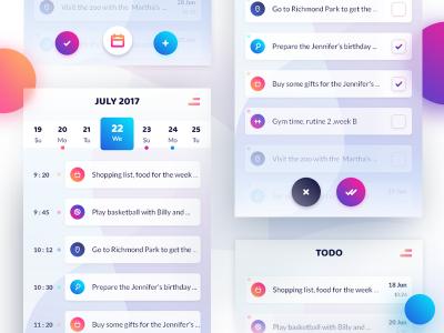 XD ToDo mobile app – UI screens