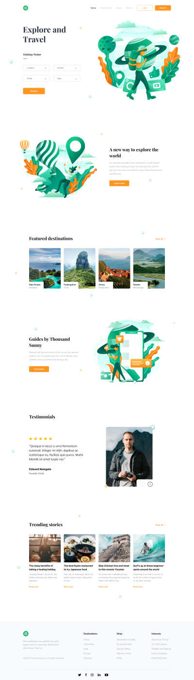 Tour and Travel Website for Figma