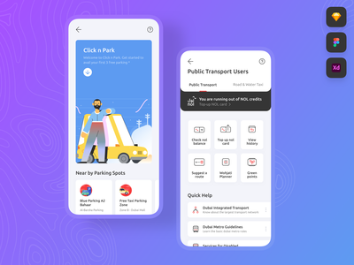 Transport and Parking • Freebie / Free Download Figma XD Sketch
