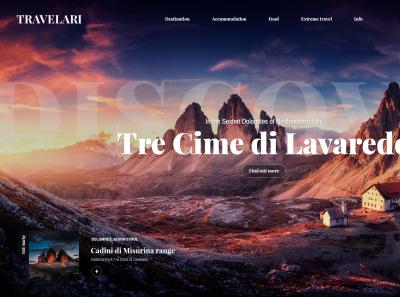 Travel animated XD homepage