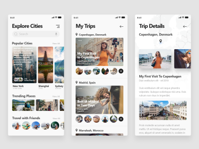 Travel app mobile XD template