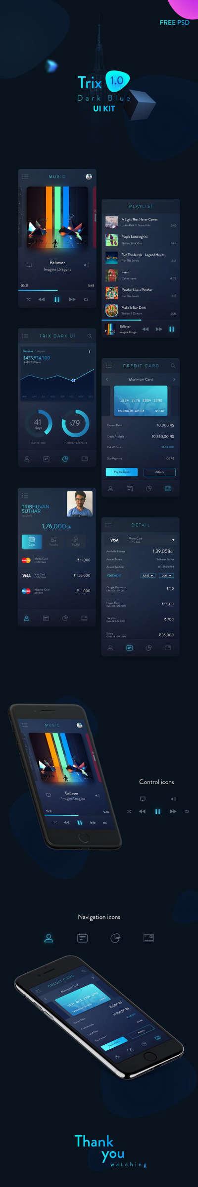Trix Dark App Design UI Kit