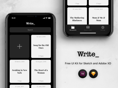 Write – Free XD Mobile UI kit