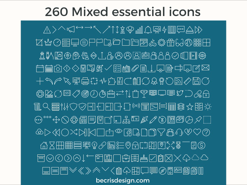 260 Mixed Essential XD Icons