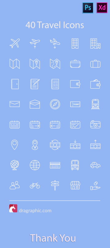40 Free travel icons for Adobe XD