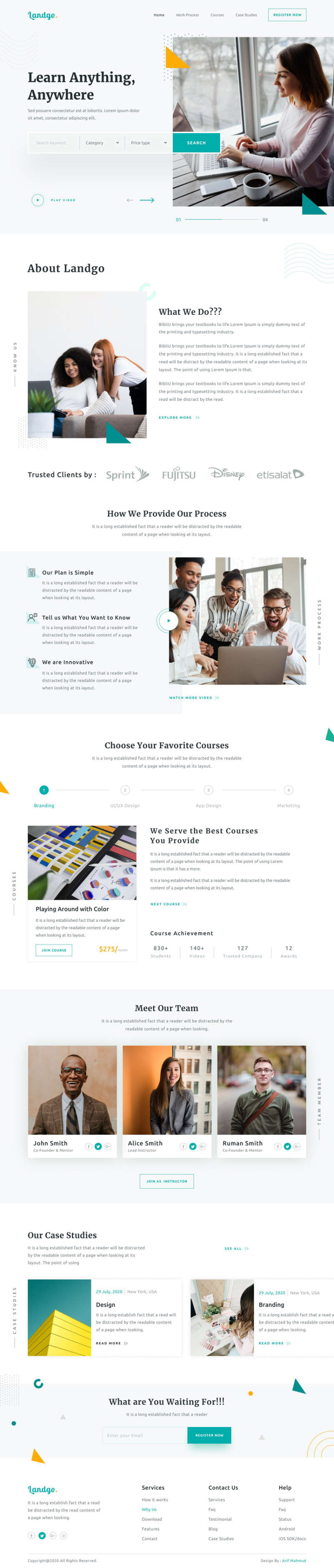School Landing Page design