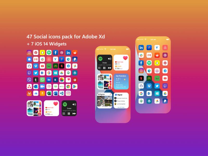 Social Icons & iOS 14 Widgets